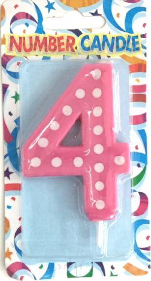 "Polka Dot 4 Candle Pink 4""-0"