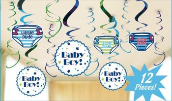 Baby Boy Swirl Decoration - 12 PC-0