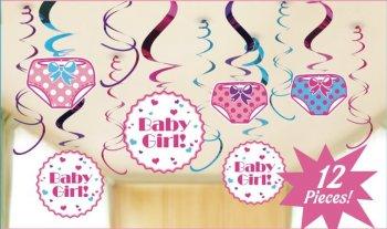 Baby Girl Swirl Decoration - 12 PC-0