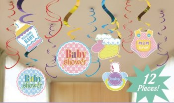 Baby Shower Swirl Decoration - 12 PC-0