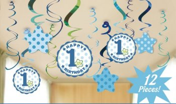 1st Birthday Boy Swirl Decoration - 12PC-0