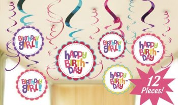 Birthday Girl Swirl Decoration - 12 PC-0