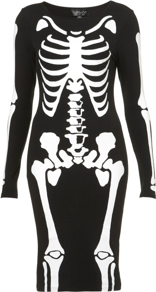 Skeleton Bodysuit with White Cape Adult Costume-0