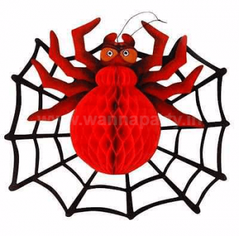 Spider Honeycomb w/ Paper Web Hanging - 2PC-0