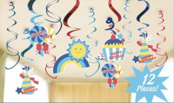 Birthday Boy Swirls Decoration - 12 PC-0