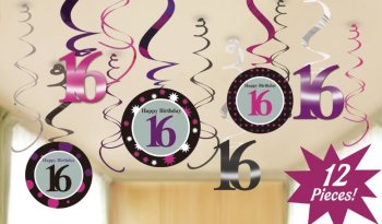 Sweet 16th Birthday Swril Decoration - 12PC-0