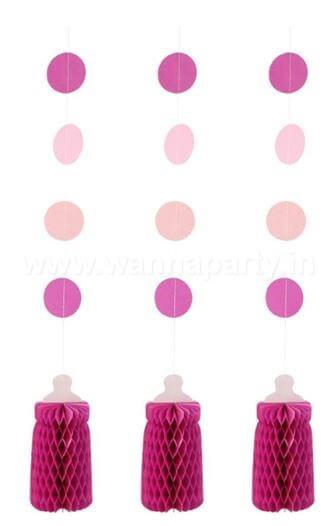 Honeycomb Bottle Hanging Pink - 3PC-0