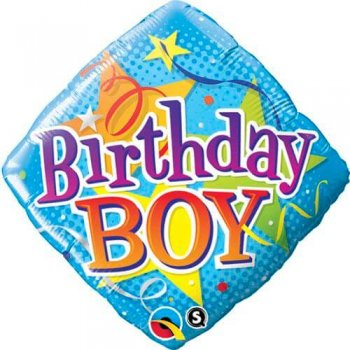 "Birthday Boy Stars Swirl 18""-0"