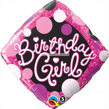 "Birthday Girl Pink & Black Balloons 18""-0"