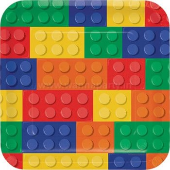 "Lego Block Party Square Lunch Plates 9"" - 8PC-0"