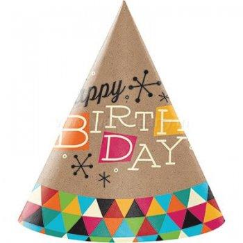 Birthday Art & Craft Cone Hat - 8PC-0