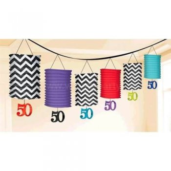 50th Birthday Lantern Garland Decoration - Over 12FT-0