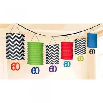 60th Birthday Lantern Garland Decoration - Over 12FT-0