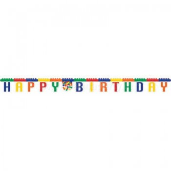 Lego Block Happy Birthday Letter Banner - 9FT-0