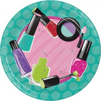 "Glitzy Girl Dessert Plates 7"" - 8PC-0"