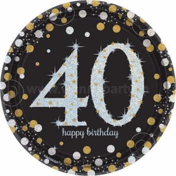 "40th Birthday Sparkling Paper Plates 9"" - 8PC-0"