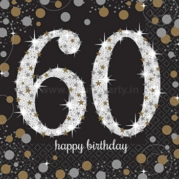Sparkling 60th Birthday Lunch Napkins - 16PC-0