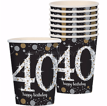 40th Birthday Paper Cup 9OZ - 8PC-0