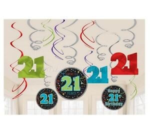 21st Birthday Swirl Decoration - 12PC-0