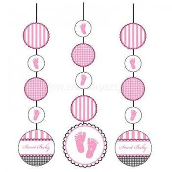 Sweet Baby Feet Pink Hanging Cutouts - 3PC-0