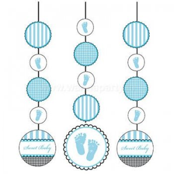 Sweet Baby Feet Blue Hanging Cutouts - 3PC-0