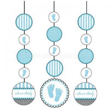 Sweet Baby Feet Blue Hanging Cutouts - 3PC-0