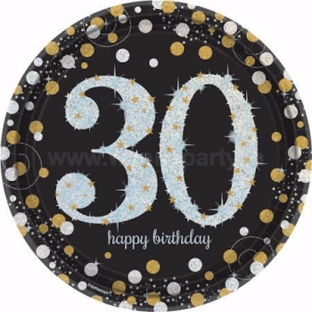 "30th Birthday Sparkling Paper Plates 9"" - 8PC-0"