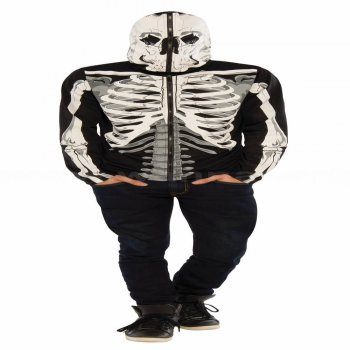 Skeleton Adult Hoodie w/Gloves-0