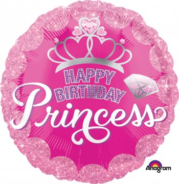 "HBD Princess Crown & Gem Balloons 18"" S40-0"