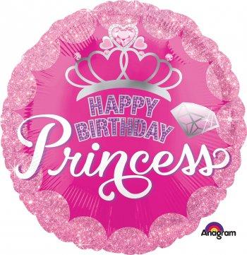 "HBD Princess Crown & Gem Balloons 18"" S40-0"