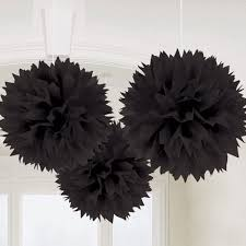"Black Fluffy Decoration - 14"" - 3PC-0"
