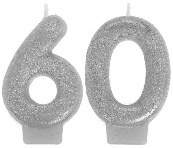 60th Birthday Glitter Candle-0