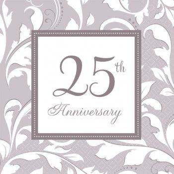 Elegant 25th Anniversary Paper Napkins - 16PC-0