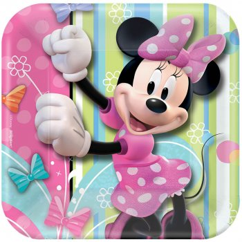 "Minnie Mouse Square Dessert Plates 7"" - 8PC-0"