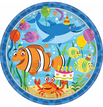 "Ocean Buddies Lunch Plates 9"" - 8PC-0"