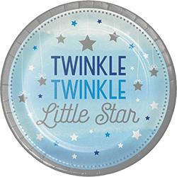 """Twinkle Twinkle Little Star Boy Paper Plates 9"""" - 8PC-0"""
