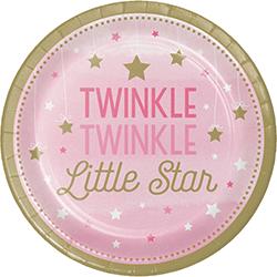 """Twinkle Twinkle Little Star Girl Dessert Plates 7"""" - 8PC-0"""