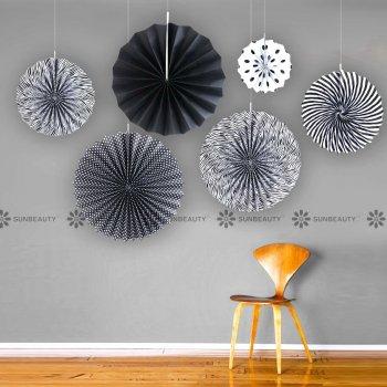 Black Paper Fans - 6PC-0