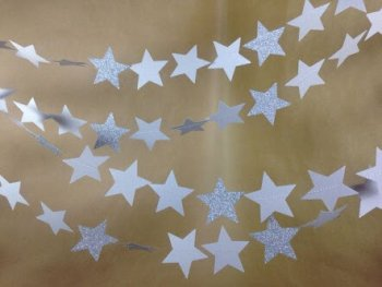 Glitter Star Silver String Decoration - 1PC-0