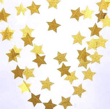Glitter Star Golden String Decoration - 1PC-0