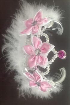 Floral Queen Tiara w/Pink Flowers-0