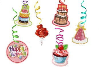 Happy Birthday Swirl Decoration - 12PC-0