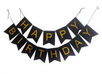 Happy Birthday Gold Foil Banner - 10FT-0