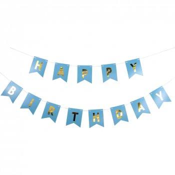 Happy Birthday Gold Foil Banner Blue - 10FT-0