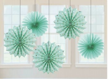 Metallic Polka Dot Aqua Green Paper Fan Decorations - 5PC-0
