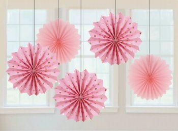 Metallic Polka Dot Pink Paper Fan Decorations - 5PC-0