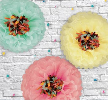 "Spring Paper Flower Fluffy Decoration 14"" - 3PC-0"