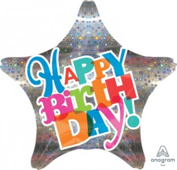 "Bright Type Sparkle Birthday Balloons 18"" S50-0"