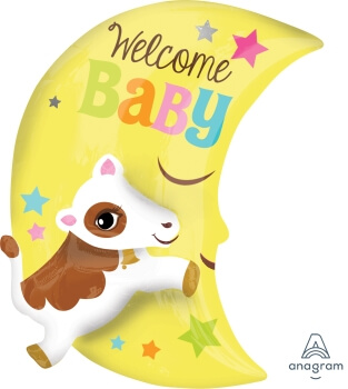 """Cow Over The Moon Welcome Baby Balloons 25"""" P50-0"""