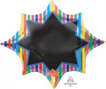 "Multi Stripe Burst Black Board Balloons 35"" P50-0"
